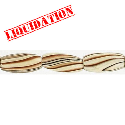 Wood bead, oval barrel, 15x7mm size, mixed zebra stripe, 17 inch strand, 30 pieces