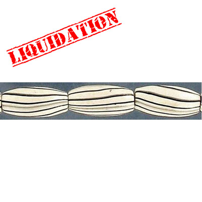 Wood bead, oval barrel, 15x7mm size, white zebra stripe, 17 inch strand, 30 pieces