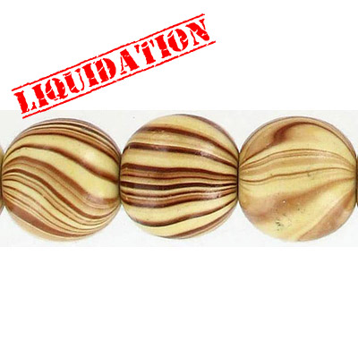 Wood bead, round 18mm size, brown zebra stripe, 19 inch strand, 26 pieces appx