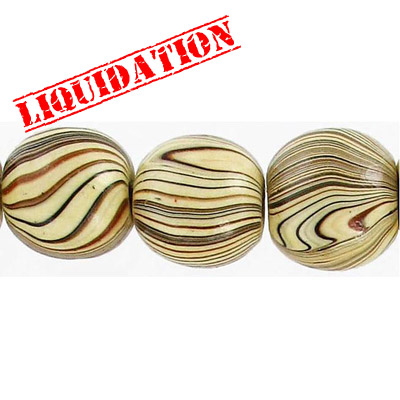 Wood bead, round 18mm size, mixed zebra stripe, 20 inch strand, 26 pieces