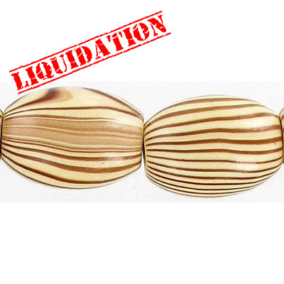 Wood bead, oval barrel, 23x16mm size, brown zebra stripe, 17 inch strand, 20 pieces