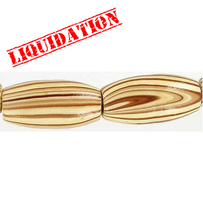 Wood bead, oval barrel, 28x12mm size, brown zebra stripe, 17 inch strand, 16 pieces