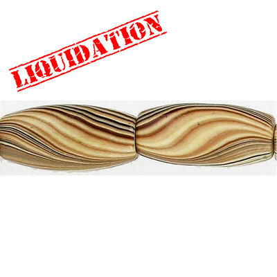 Wood bead, oval barrel, 28x12mm size, mixed zebra stripe, 17 inch strand, 16 pieces