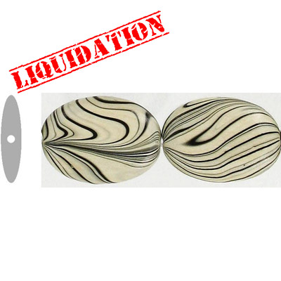Wood bead, oval, 28x19mm size, natural zebra stripe, 17 inch strand, 16 pieces