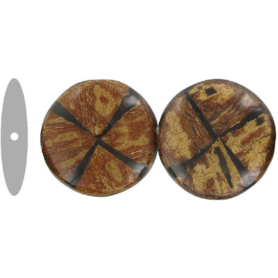 Wood bead, flatten round disk shape, 36mm, two tone, black and brown
