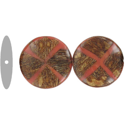 Wood bead, flatten round disk shape, 36mm, two tone, red and brown