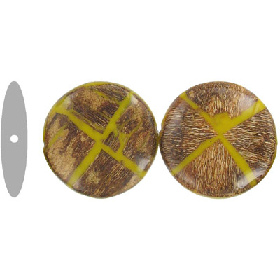 Wood bead, flatten round disk shape, 36mm, two tone, yellow and brown