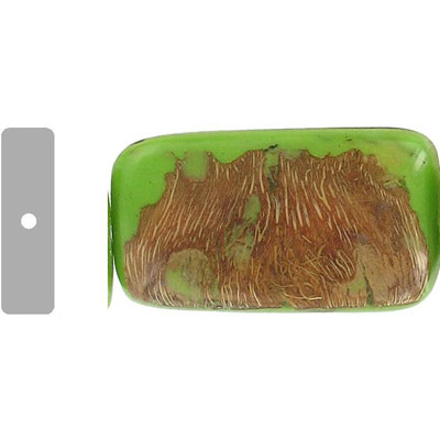 Wood bead leaves, large rectangle, 40x28x12mm, 16 inch strand, green