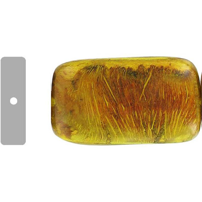 Wood bead leaves, large rectangle, 40x28x12mm, 16 inch strand, yellow