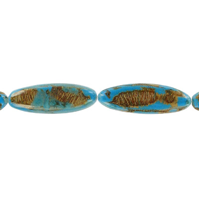 Wood bead leaves, large 45x15mm, blue, 16 inch strand