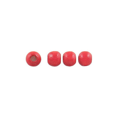 Wood bead, 4mm, laquered, red
