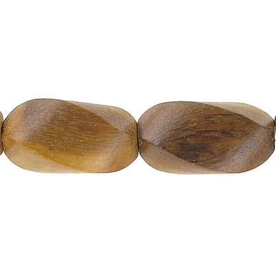 Wood bead, 14x25mm, twisted bead, madre de cacao, 16 inch strand