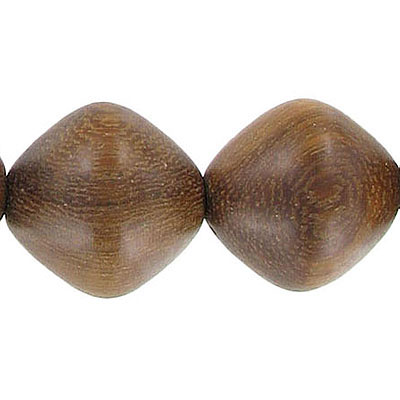 Wood bead, 17x20mm, diamond shape, madre de cacao, 16 inch strand