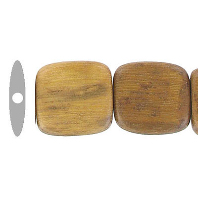 Wood bead, 15mm, flat square bead, madre de cacao, 16 inch strand