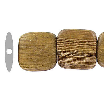 Wood bead, 15mm, flat square bead, robles wood, 16 inch strand