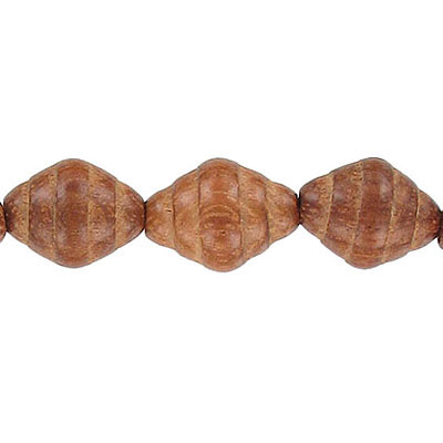 Wood bead, 12x15mm with groove, bayong wood, 16 inch strand