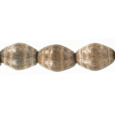 Wood bead, 12x15mm with groove, grey wood, 16 inch strand