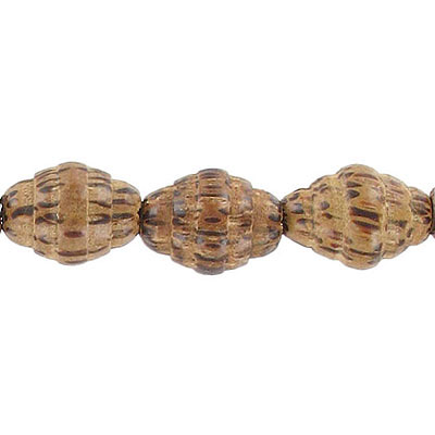 Wood bead, 12x15mm with groove, palm wood, 16 inch strand