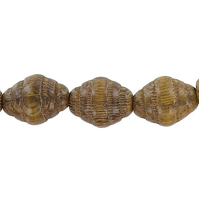 Wood bead, 12x15mm with groove, robles wood, 16 inch strand