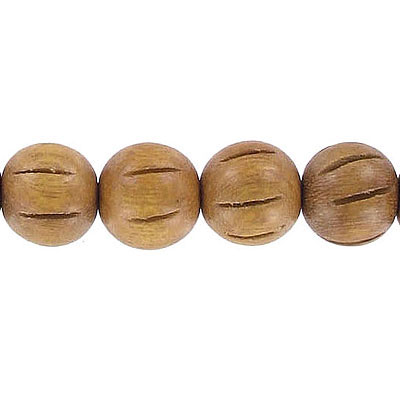 Wood bead, 12mm, round, carved, madre de cacao, 16 inch strand