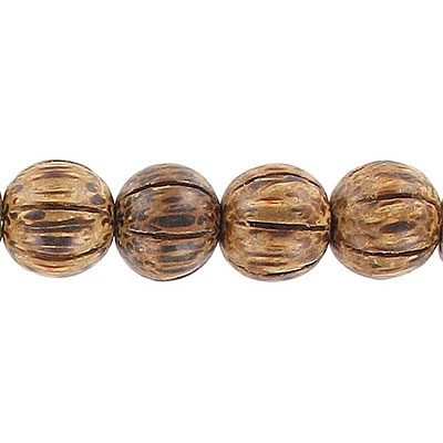 Wood bead, 12mm, round, carved, palm wood, 16 inch strand