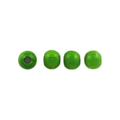 Wood bead, 5mm, lacquered, round, green