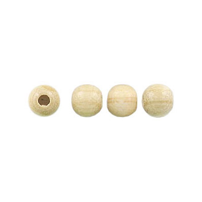 Wood bead, 5mm, lacquered, round, natural