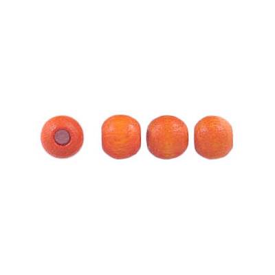 Wood bead, 5mm, lacquered, round, woodbead orange lacquered