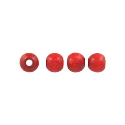 Wood bead, 5mm, lacquered, round, red