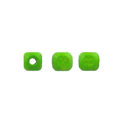 Wood bead, 5x5mm, cube, lime