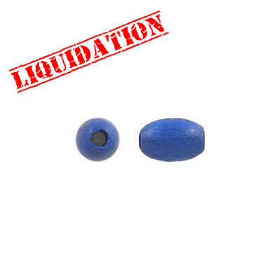 Wood bead, 5x7.5mm, oval, blue