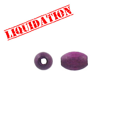 Wood bead, 5x7.5mm, oval, purple