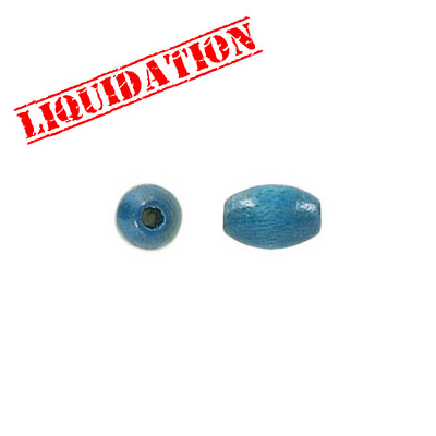 Wood bead, 5x7.5mm, oval,  light blue