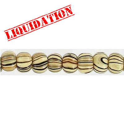 Wood bead, round 6mm size, mixed zebra stripe, 17 inch strand, 95 pieces