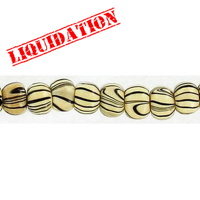 Wood bead, round 6mm size, natural zebra stripe, 17 inch strand, 95 pieces