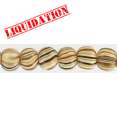 Wood bead, round 8mm size, mixed zebra stripe, 17 inch strand, 67 pieces