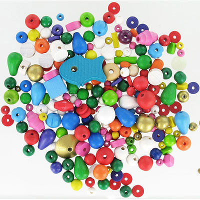 Wood bead mix, multi shape, multi color, pack of 100gr