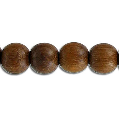 Wood bead, 10mm, round, madre de cacao wood, 16 inch strand