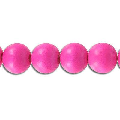 Wood bead, 10mm, round, pink, 40 beads per strand, 16 inch strands