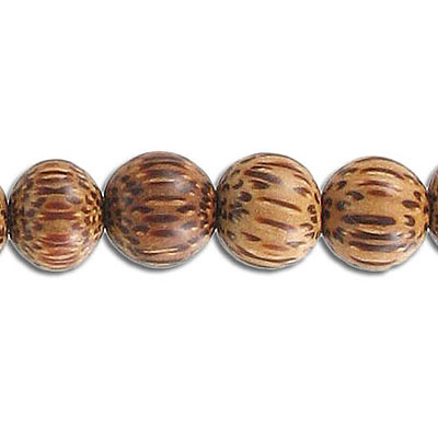Wood bead, 10mm, round, palm wood, 16 inch strand