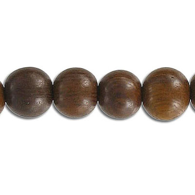 Wood bead, 10mm, round, robles wood, 16 inch strand