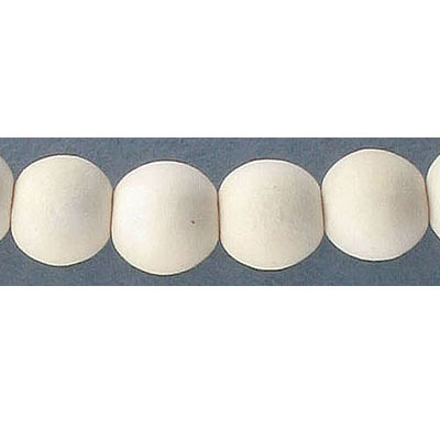 Wood bead, 10mm, round, off-white, 40 beads per strand, 16 inch strands