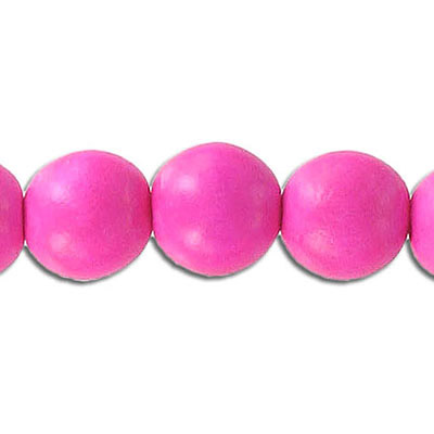 Wood bead, 12mm, round, pink, 33 beads per strand, 16 inch strands