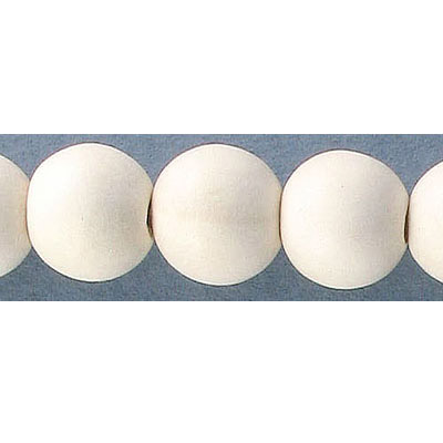 Wood bead, 12mm, round, off-white, 33 beads per strand, 16 inch strands