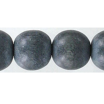 Wood bead, 16mm, round, grey, apx. inside diameter 2.50mm, 25 beads per strand, 16 inch strands