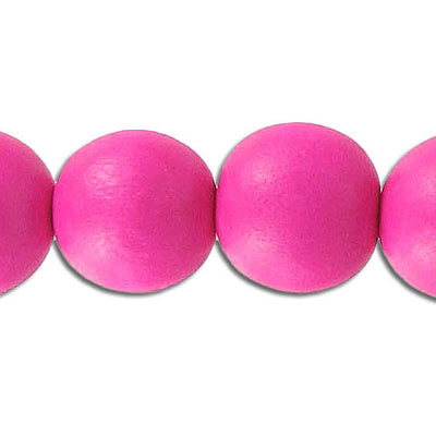 Wood bead, 16mm, round, pink, 25 beads per strand, 16 inch strands