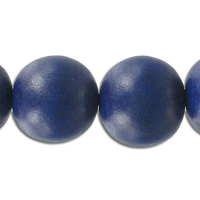 Wood bead, 18mm, round, blue, apx. 22 beads per strand, 16 inch strands