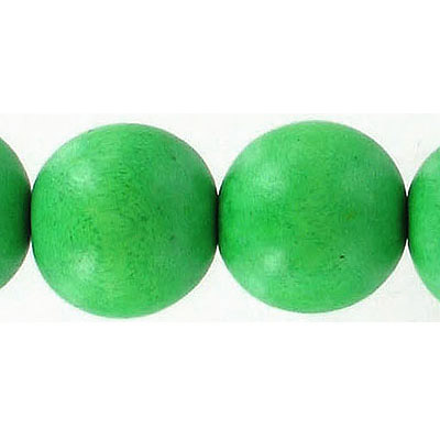 Wood bead, 18mm, round, green, apx. inside diameter 2.50mm, 22 beads per strand, 16 inch strands