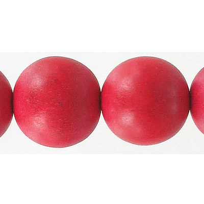 Wood bead, 18mm, round, red, 16 inch strands