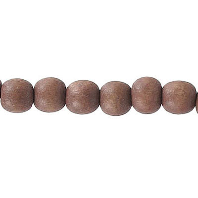 Wood bead, 6mm, round, brown, 67 beads per strand, 16 inch strands
